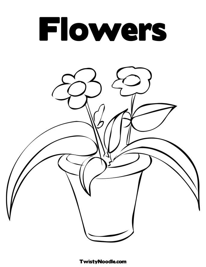 Flower Pot Colouring Pages Page 2