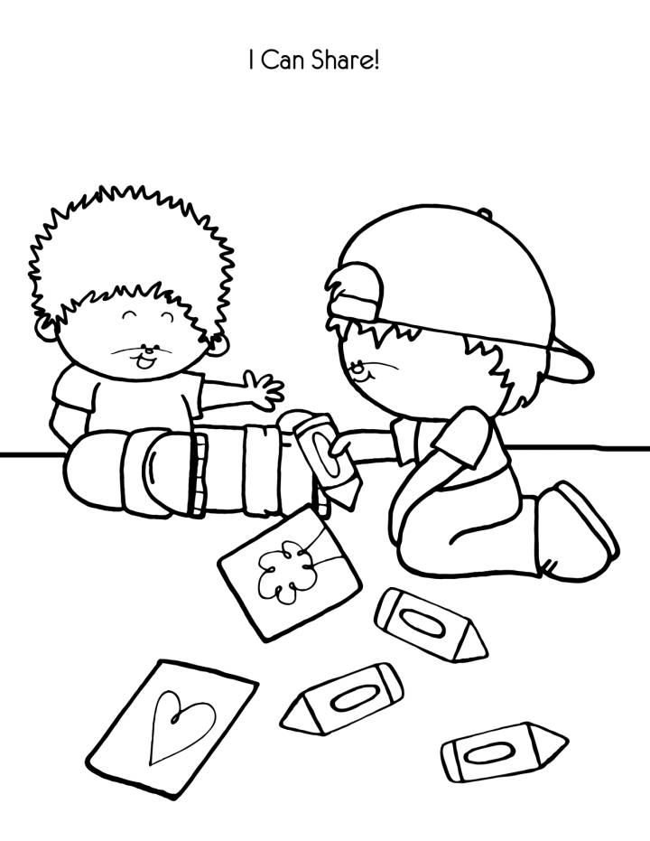 Kids Sharing Clipart Black And White Children Sharin...