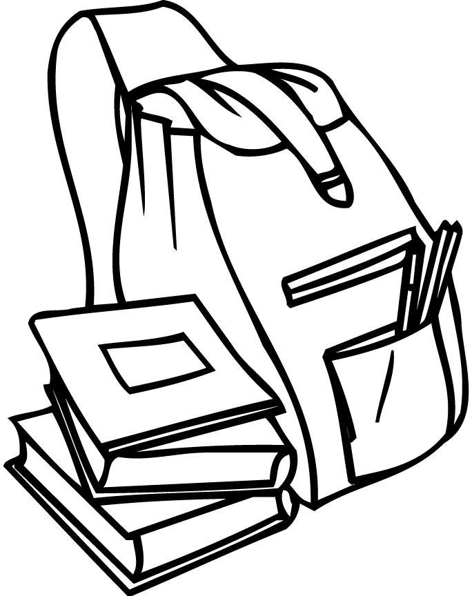 Coloring Page Of A Backpack And Books For Preschoolers ...