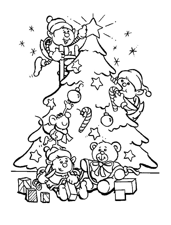 christmas tree present coloring pages - photo#27