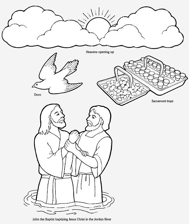 baptism in jordan Colouring Pages
