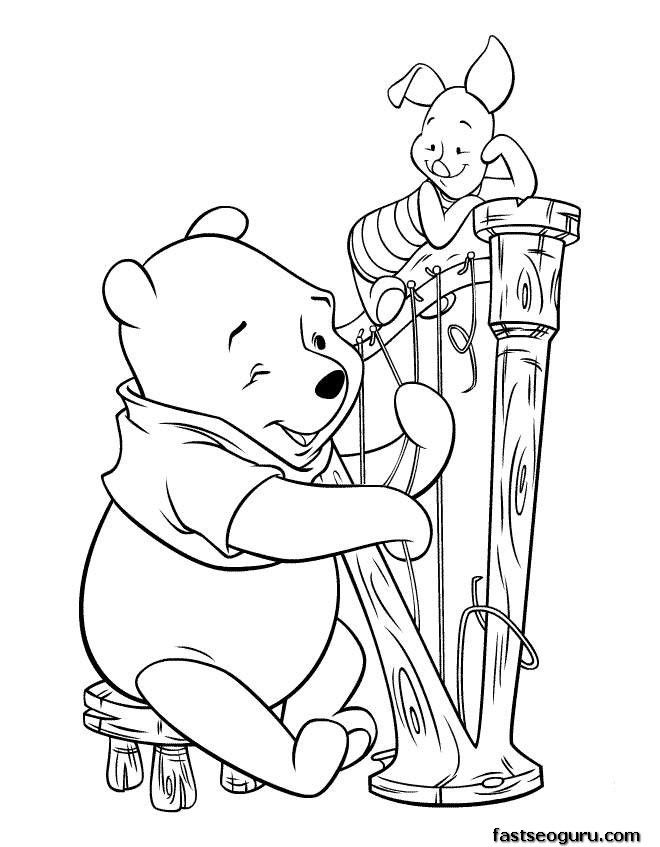 Guitar Coloring Pages Pdf : Printable coloring pages winnie the pooh and piglet play
