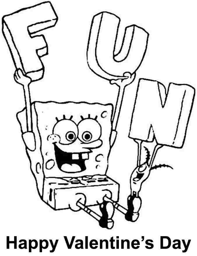 spongebob valentine day coloring pages - photo#11