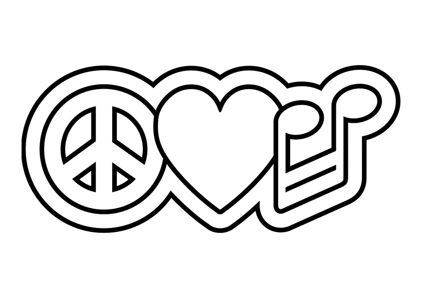 Peace Love Music Symbol Print Jpg Coloring Pages Of Peace Signs