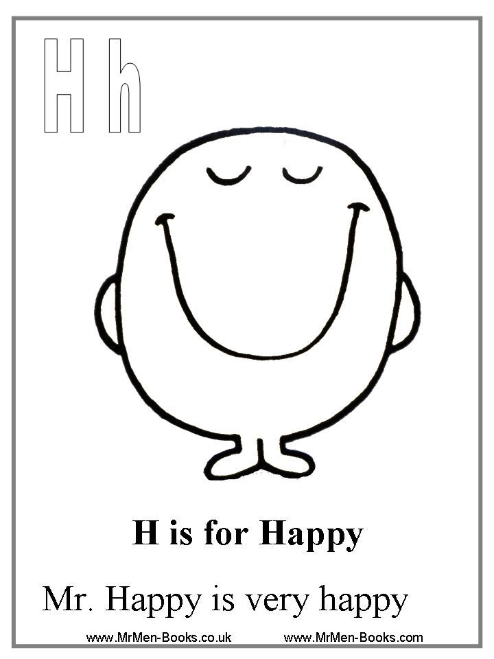 Mr Men And Little Miss Coloring Pages Coloring Home Happy Colouring Page