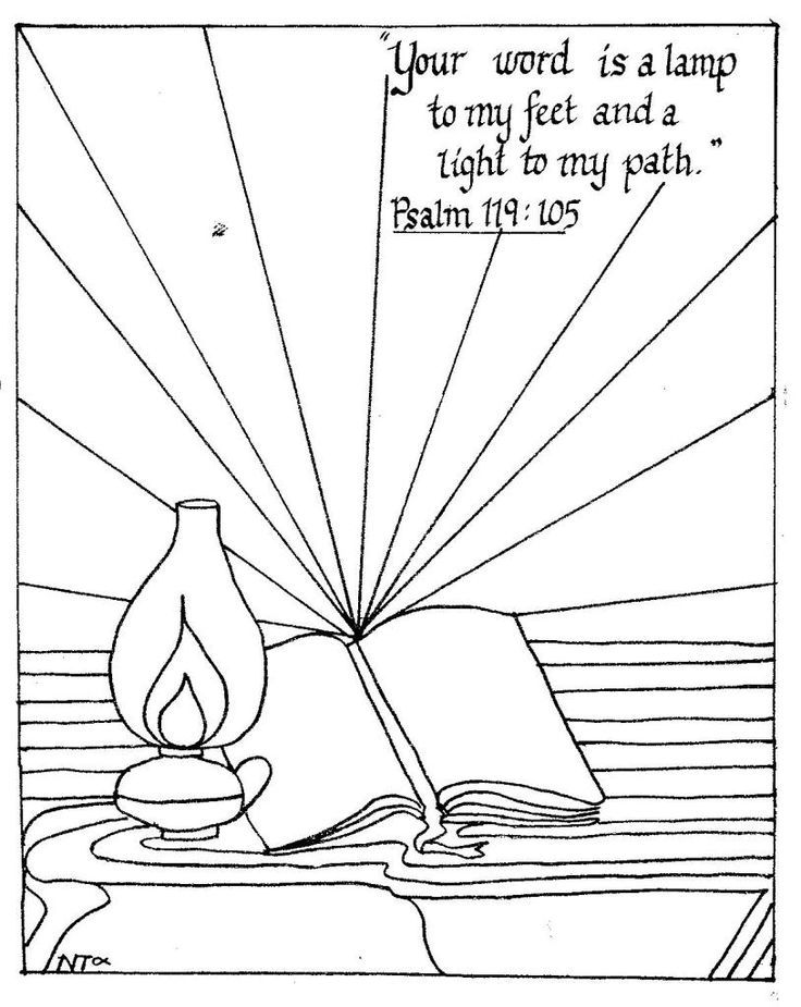 Psalm 119:105 coloring page | sunday school crafts