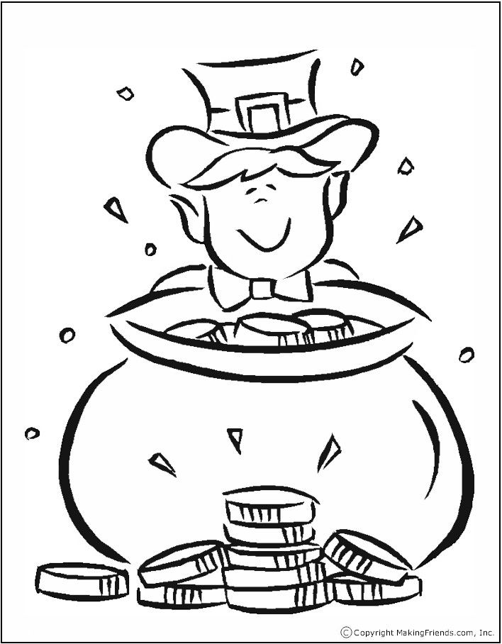 pot of gold template - coloring home - Coloring Pages Rainbow Pot Gold