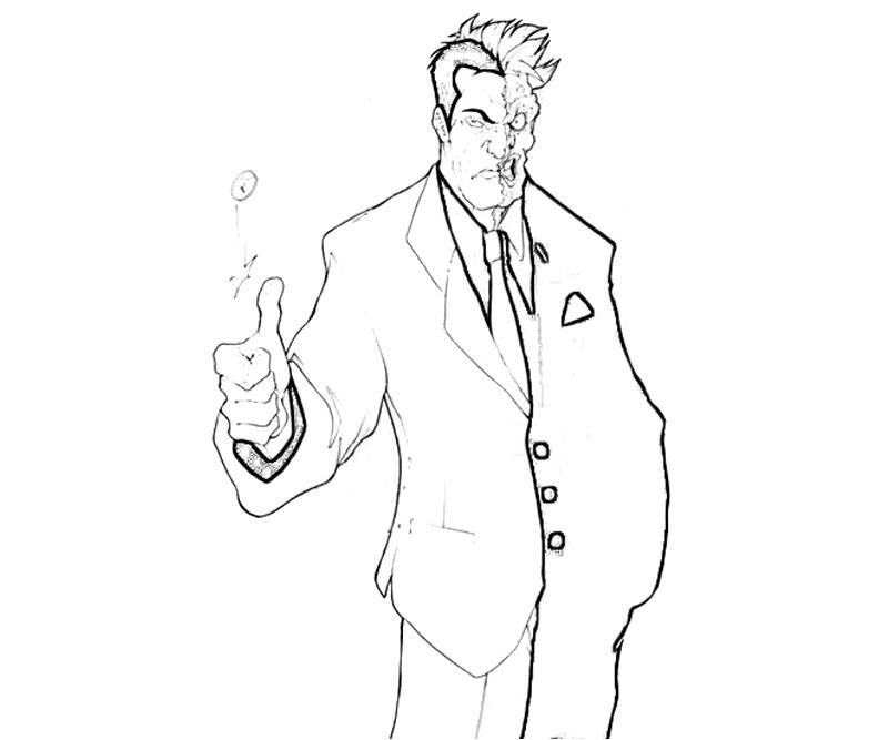 two face coloring pages - coloring home - Batman Arkham City Coloring Pages