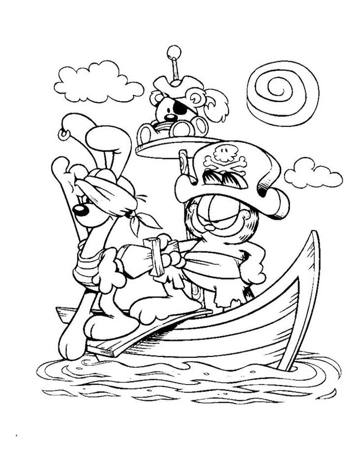 Garfield Captain Pirate Coloring Page