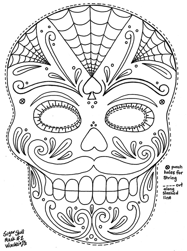 sugar skull designs coloring pages - photo#12