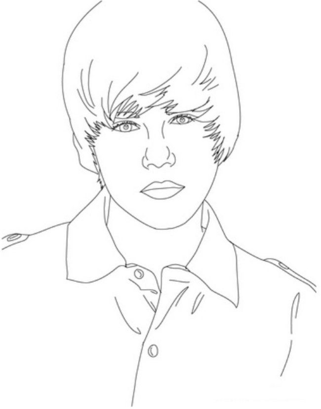 Justin Bieber Close Up Coloring Page – Printable Justin Bieber
