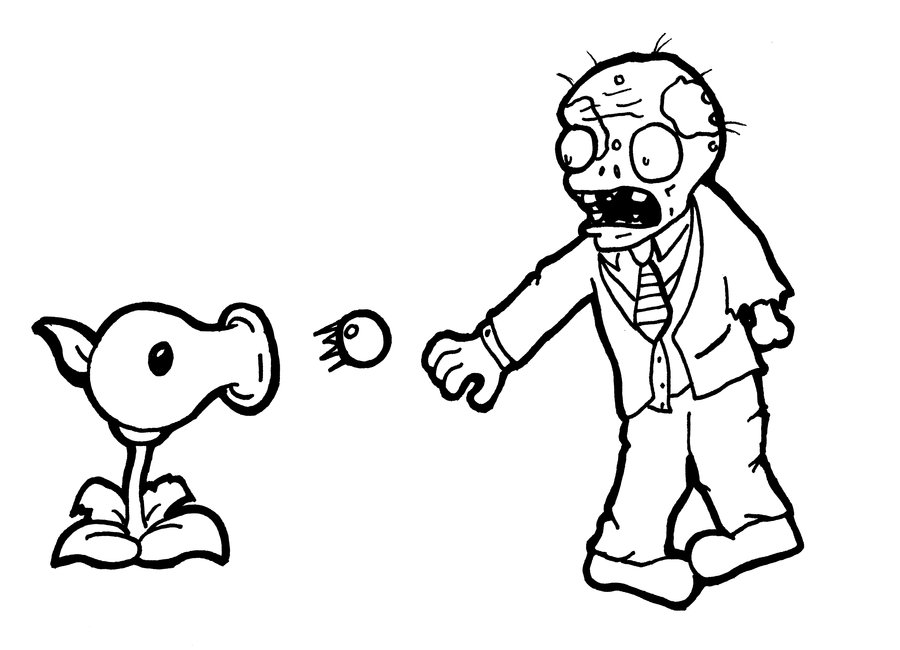 V Coloring Page Plants Vs Zombies Coloring