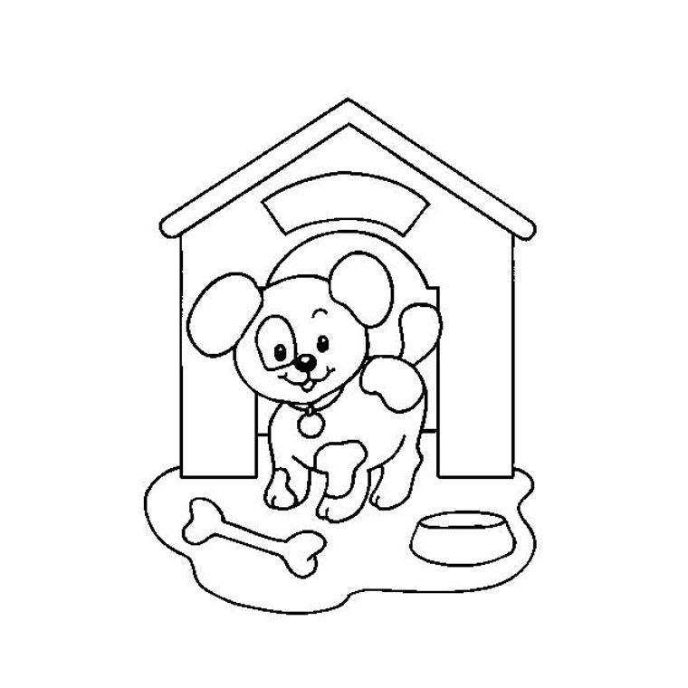 Comment dessiner une niche - Chiot a colorier ...