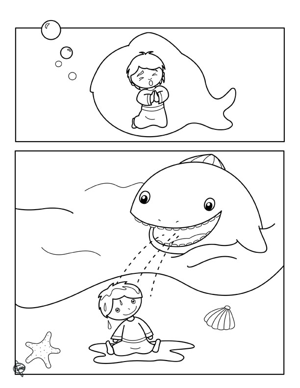 jonah and fish coloring pages - photo#6