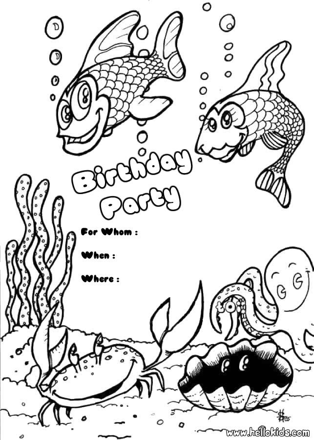 Birthday Invitations Coloring Pages Fish Birthday Party