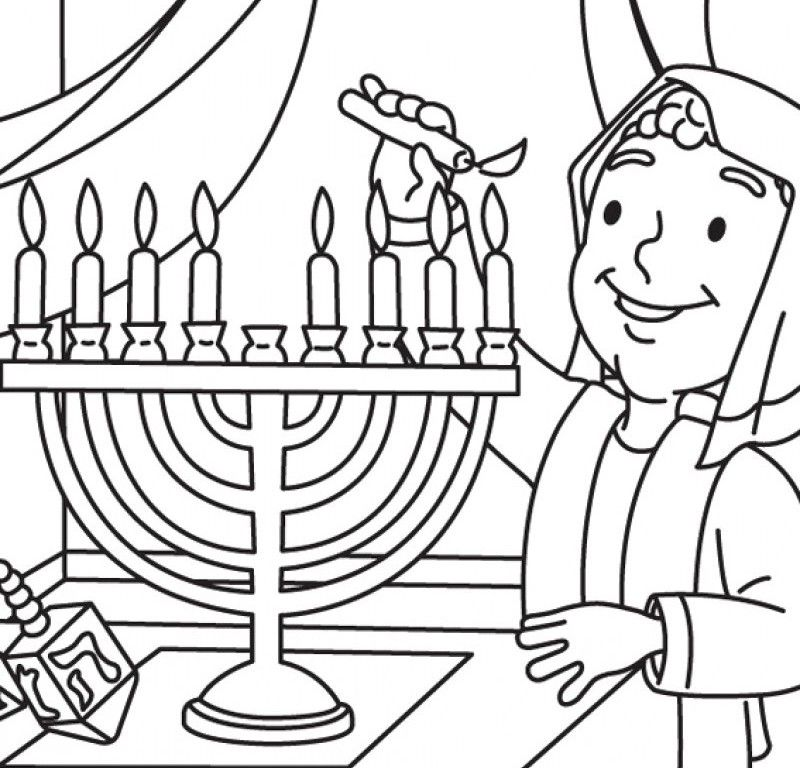 Chanukah And With Small Cute Boy Coloring Page