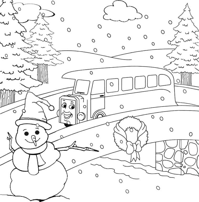 Winter Felt Snowman And Thomas Friends Coloring Pages - Winter