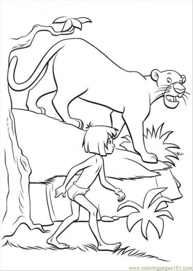 Coloring Pages Bagheera And Mowgli (Cartoons > The Jungle Book ...