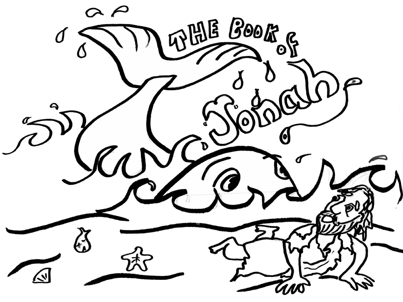 jonah and fish coloring pages - photo#28