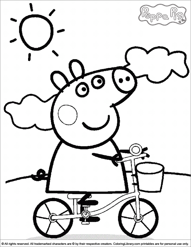 Peppa Pig Riding A Bike Coloring Page - Coloring Home