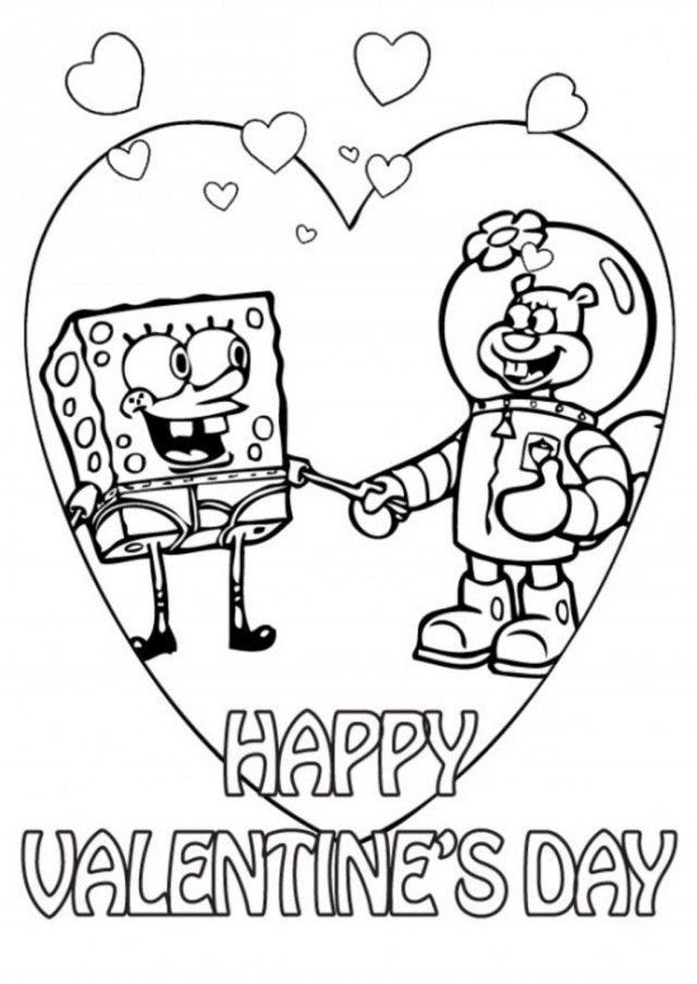Download spongebob and sandy valentine coloring pages or for Spongebob valentine coloring pages