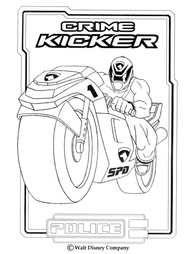 power rangers coloring pages police crime kicker - Pink Power Rangers Coloring Pages