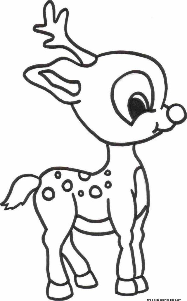 Christmas Baby Reindeer Printable Coloring pages for kids - Free