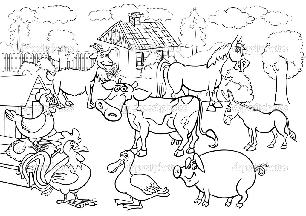 Colour In Farm Animals AZ Coloring