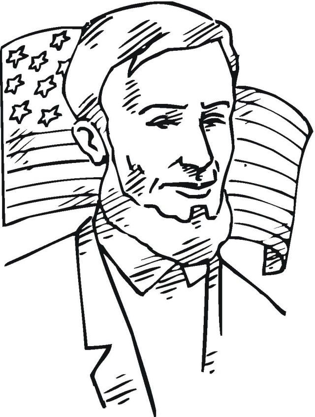 Printable Abraham Lincoln With American Flag Coloring Page