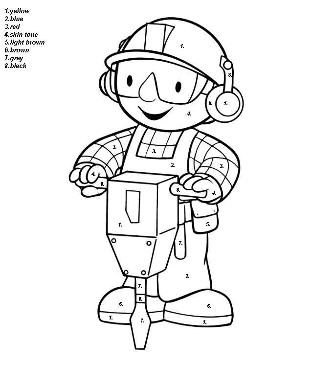 handy manny cartoon color by number coloring pages - Handy Manny Colouring Pages