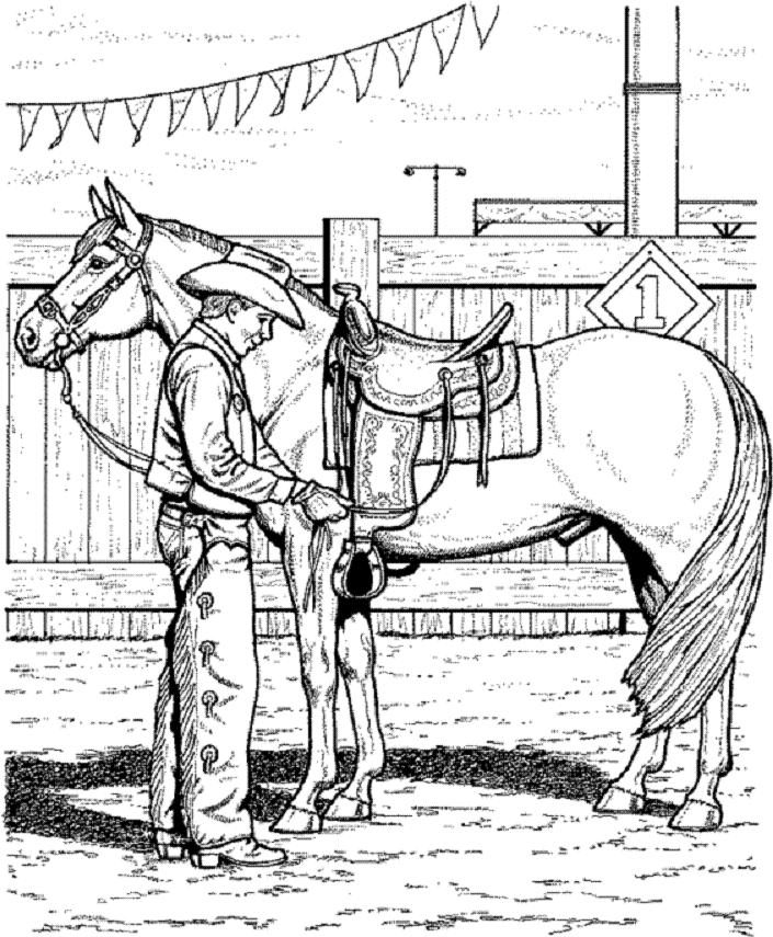 Horse Coloring Page Of Cowboy Adjusting Saddle Coloring Home