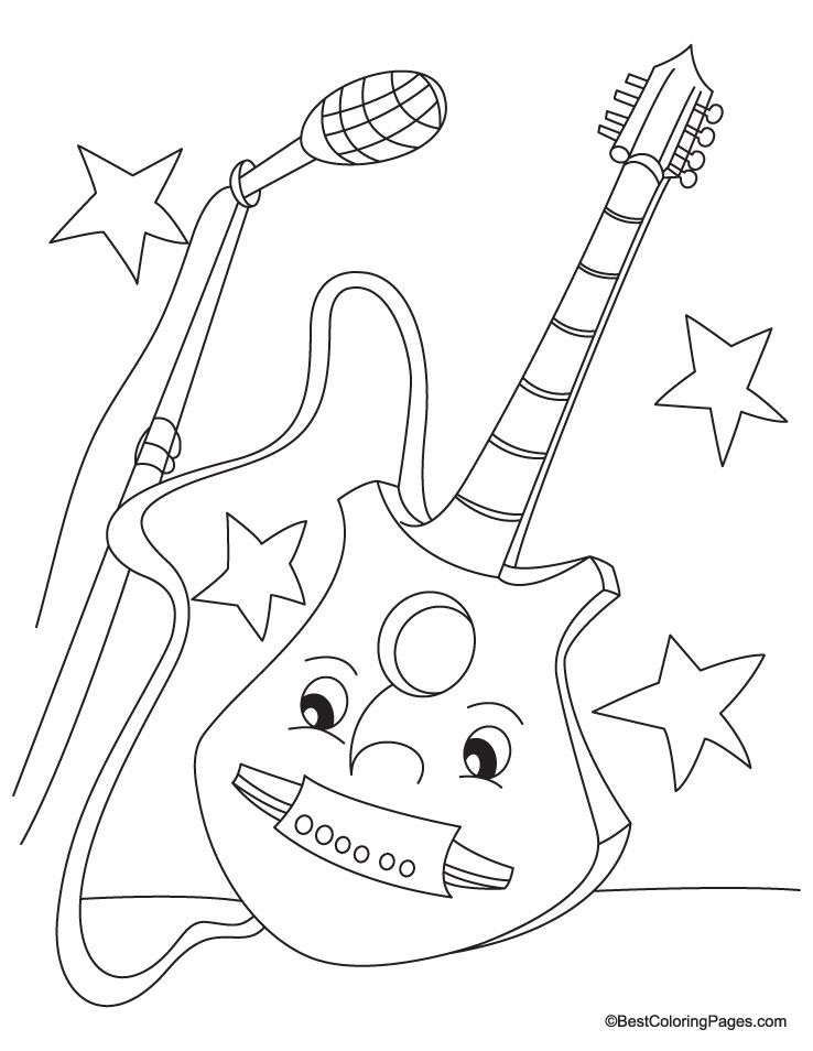 Guitar Coloring Pages Pdf : Happy guitar colouring pages az coloring