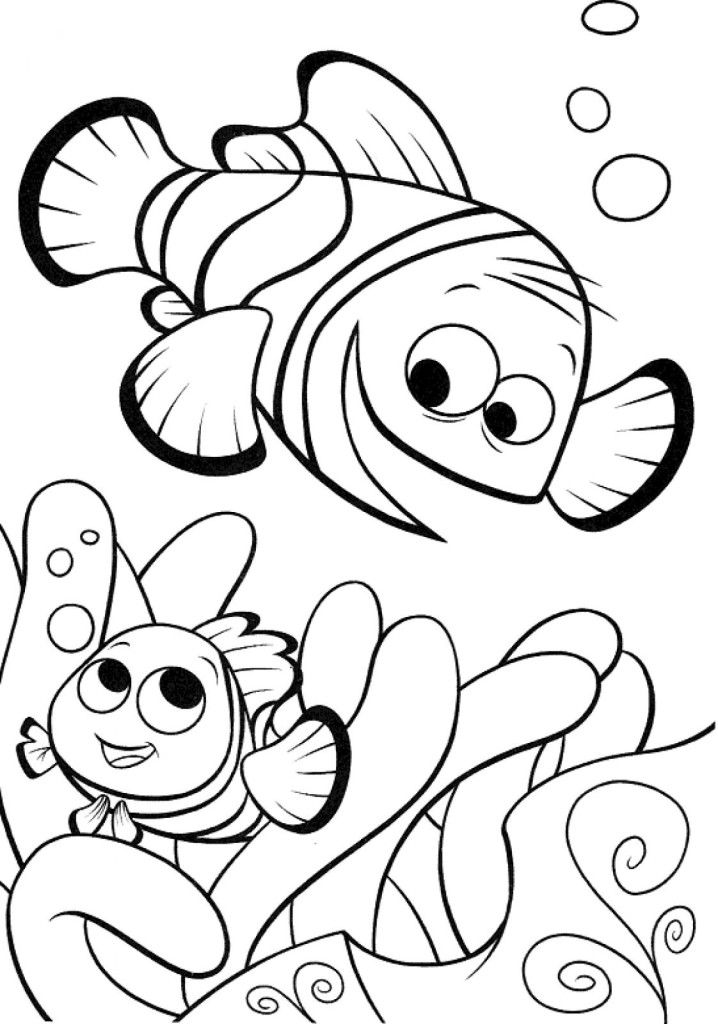 Clownfish finding nemo printable coloring pages high res for Finding nemo coloring pages free