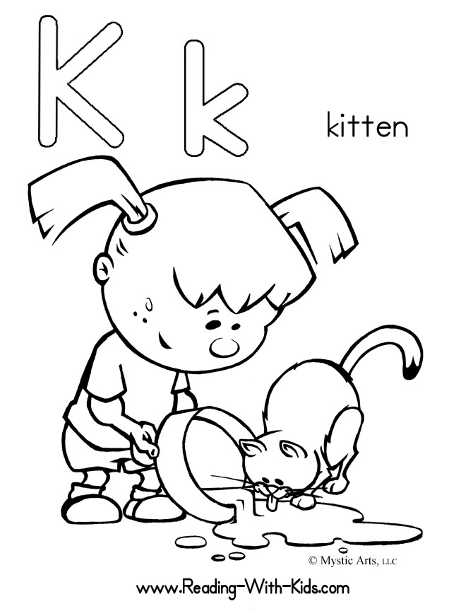 k is for kitten coloring pages - photo #3