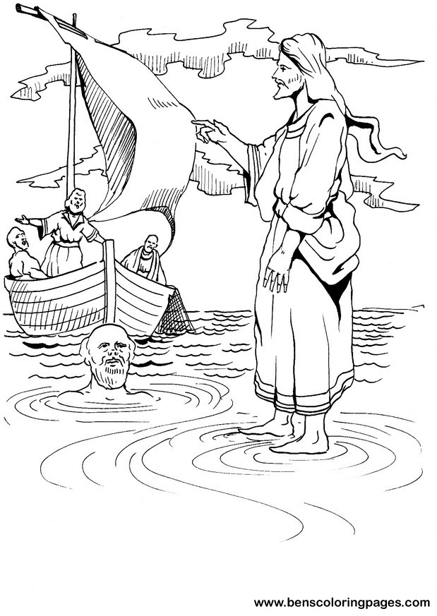 Free Peter Walks On Water Coloring Pages
