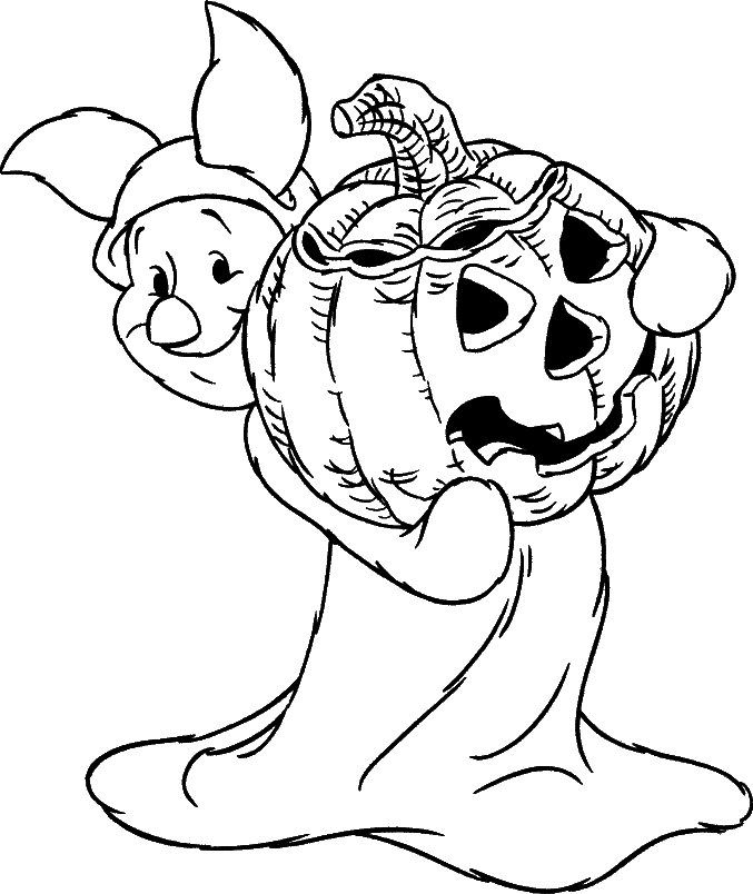 the pooh halloween coloring pages - photo#13