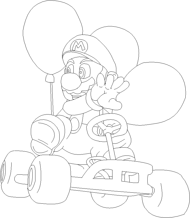Mario Coloring Pages Pdf : Mario kart outline by mothergarchomp on