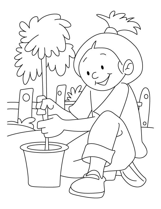 A Girl Planting Tree On Arbor Day Coloring Pages | Download Free A