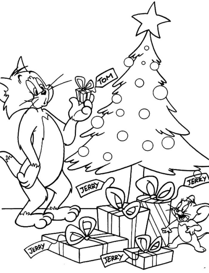 tom and jerry in christmas day coloring page christmas coloring