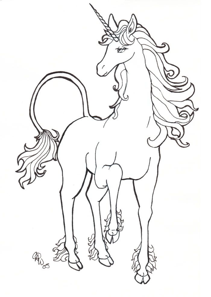 Line Art Unicorn : Unicorn line drawing coloring home