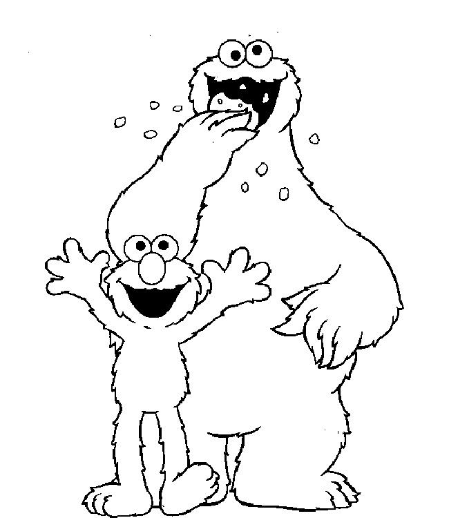 Elmo And Cookie Monster Coloring Pages Az Coloring Pages Cookie Coloring Pages To Print
