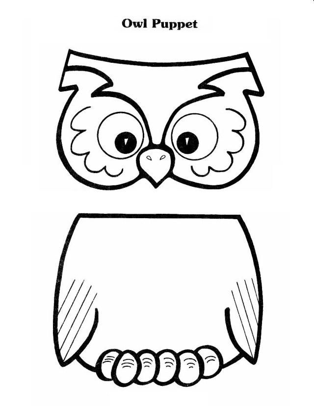 owls coloring pages preschool | Owl Lunch Sack Puppet Printable | Owls - Crafts, Etc ...
