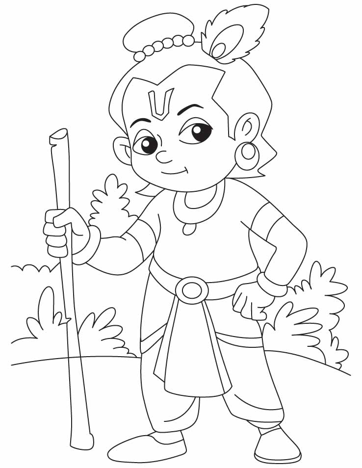 Chota bheem or krishna az coloring pages for Coloring pages of krishna