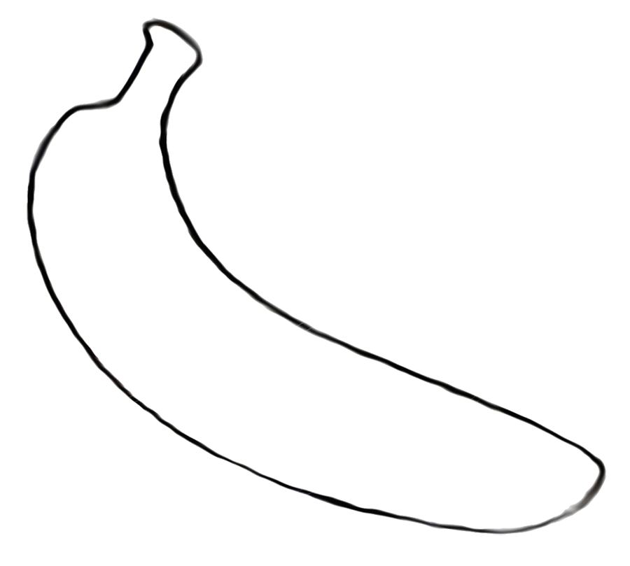 Line Drawing Banana : Coloring pages banana az