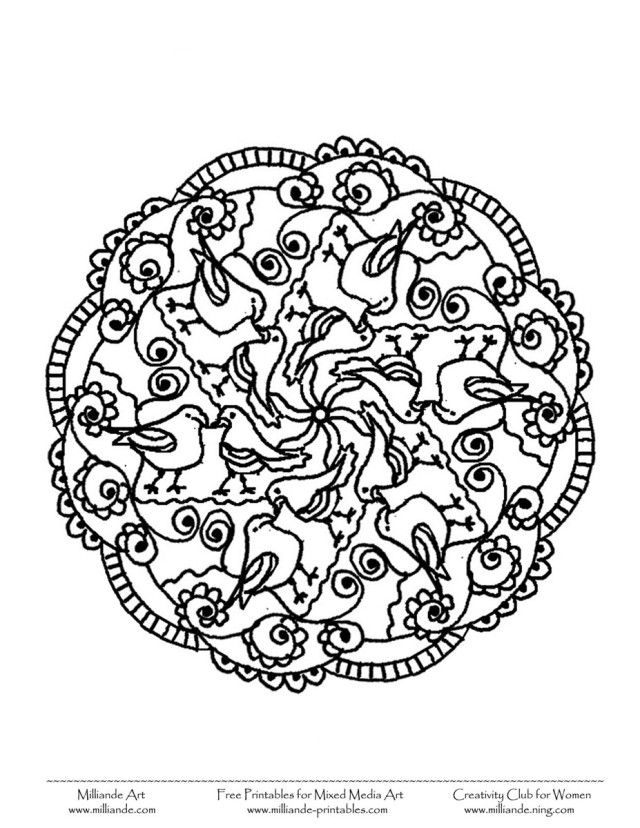 Easier Bird Mandala To Color Coloring Pages | Laptopezine.