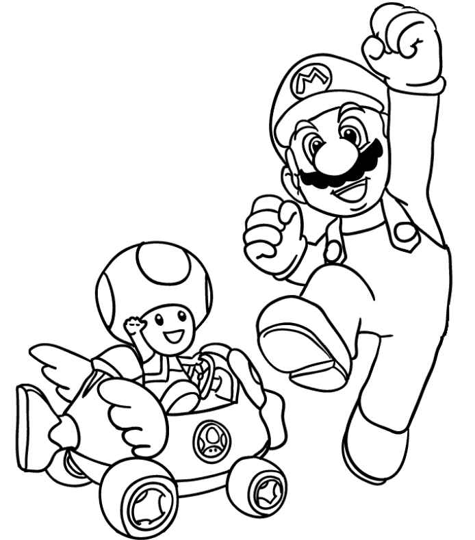 Mario Kart Toad Coloring Page - Coloring Home