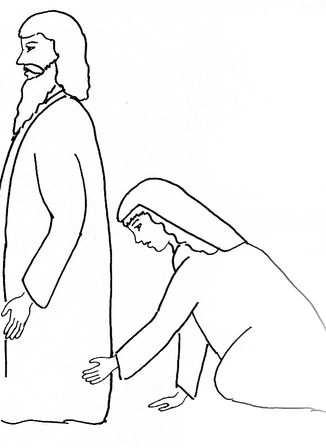 Bible Story Coloring Page for Jesus and the Woman with the Issue