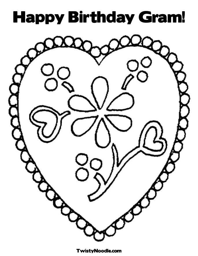 happy birthday mom heart Colouring Pages