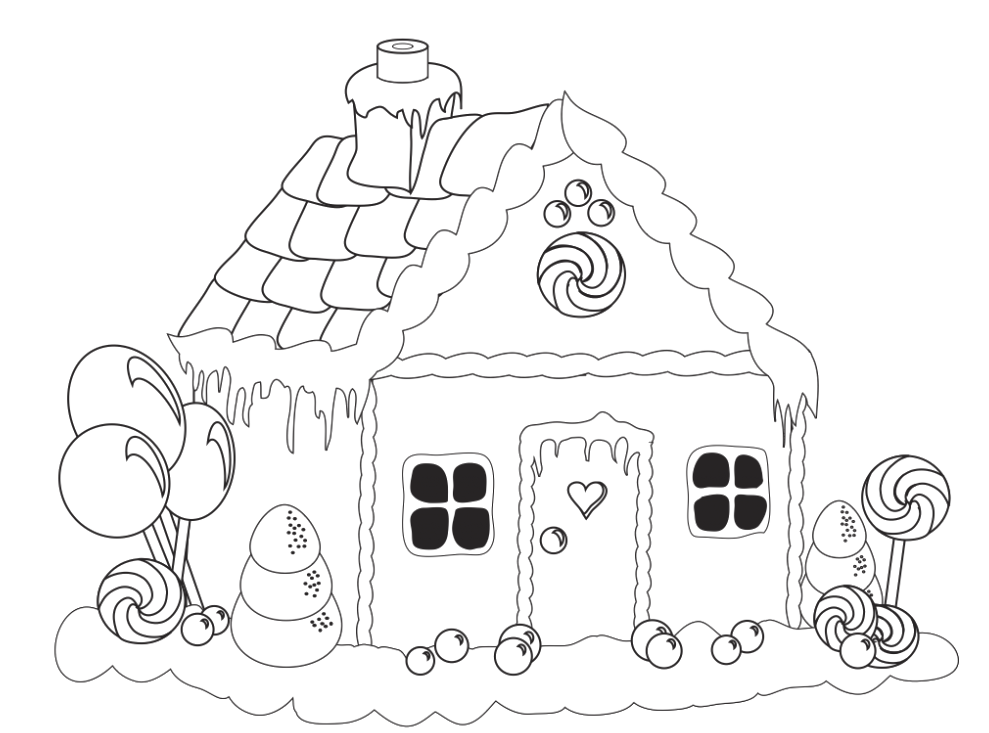 gingerbread house candy coloring pages - photo#3