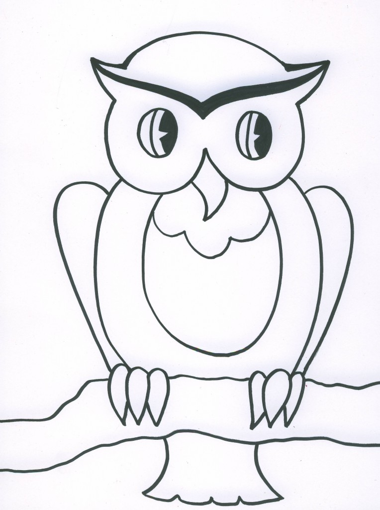 Line Drawing For Kids : Owl line drawings coloring home